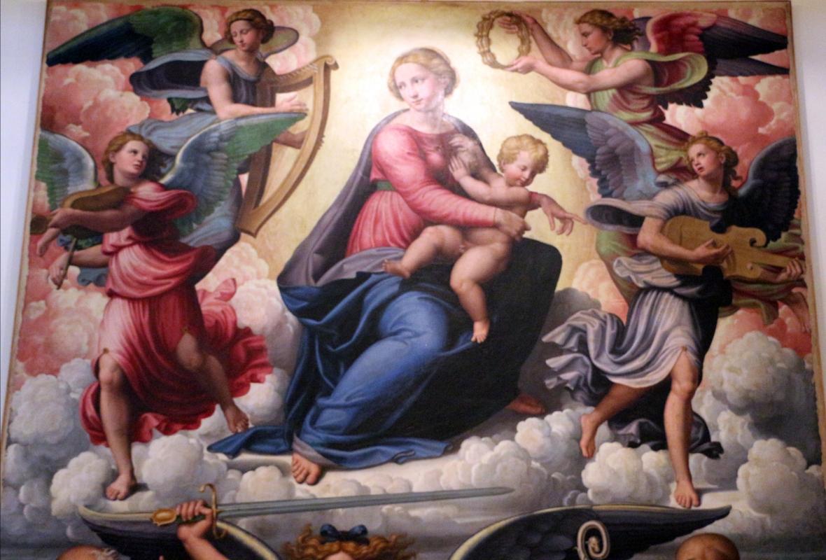 Innocenzo da imola, madonna in gloria e tre santi, 1517-22, da s. michele in bosco 02 - Sailko - Bologna (BO)