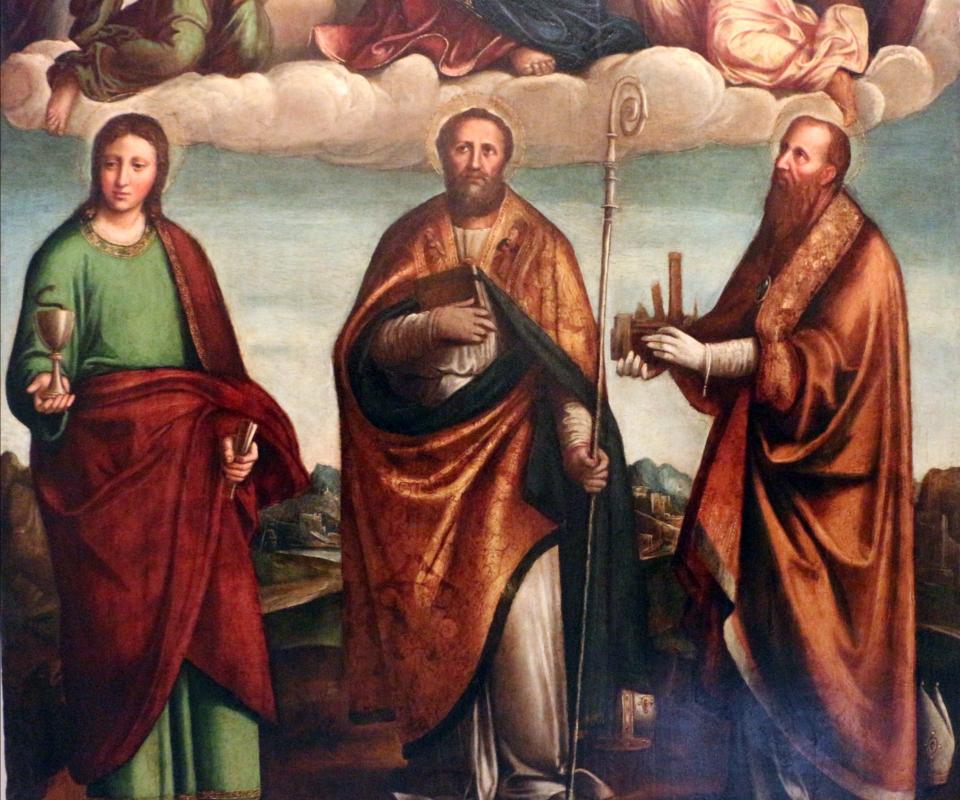 Nicolò pisano, madonna in gloria adorata da tre santi, 1534, 02 - Sailko - Bologna (BO)