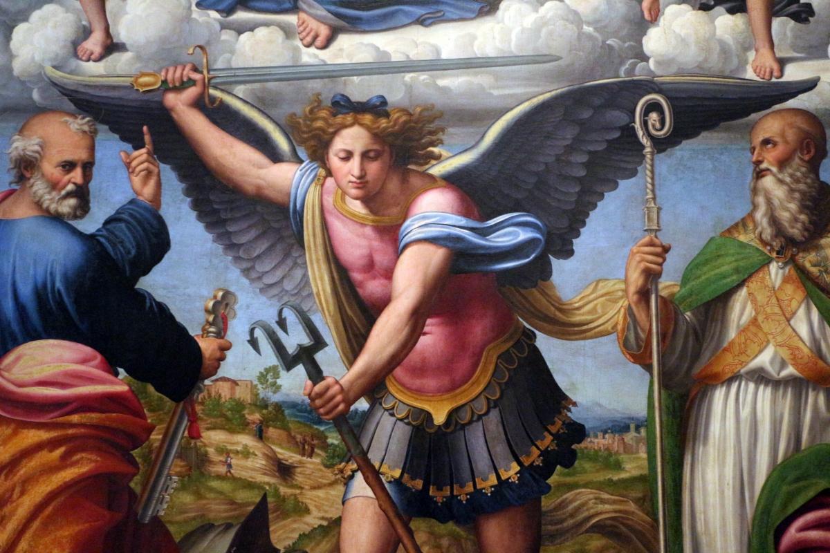 Innocenzo da imola, madonna in gloria e tre santi, 1517-22, da s. michele in bosco 05 - Sailko - Bologna (BO)