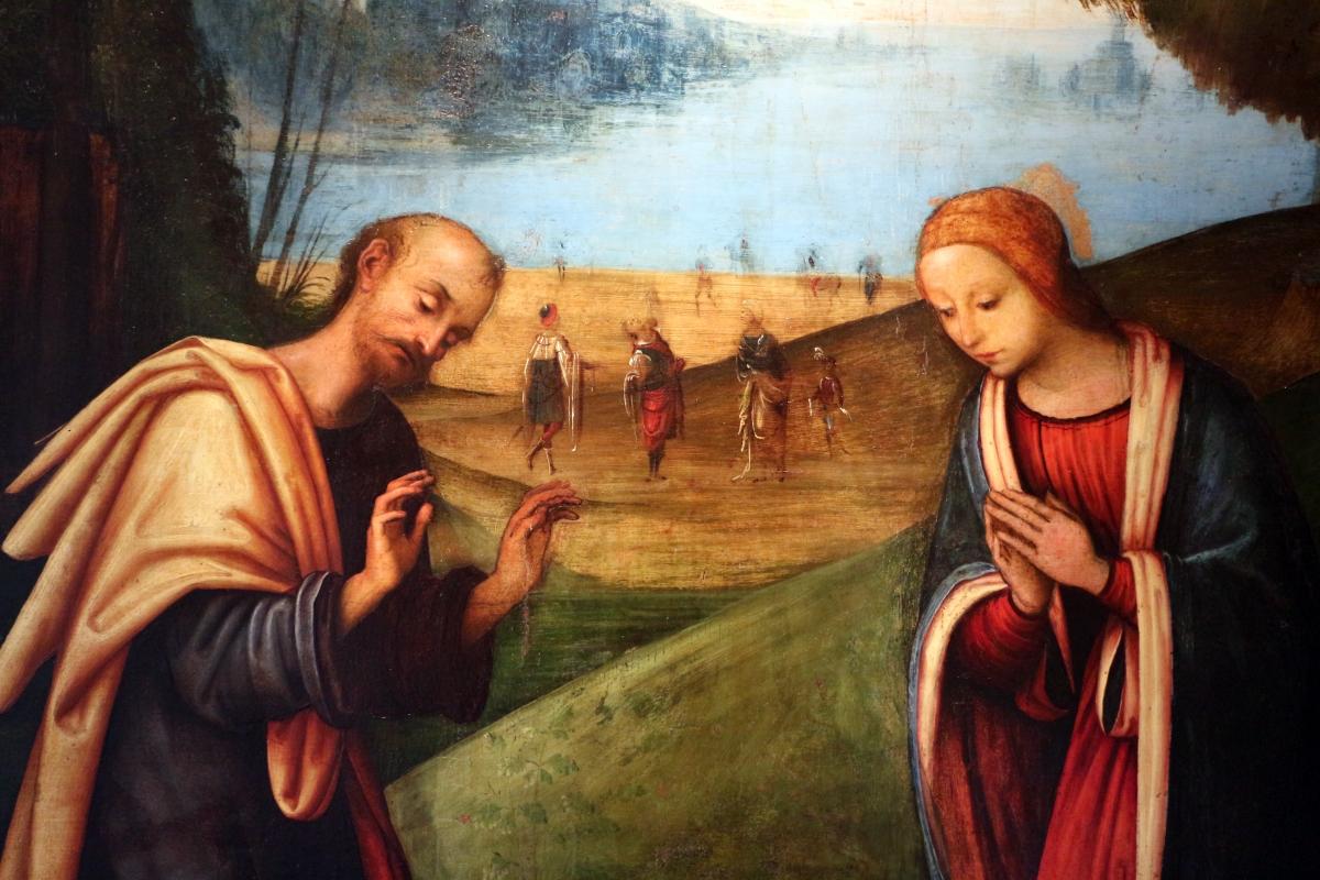 Lorenzo costa, adorazione del bambino con arrivo dei magi, 1503-06, da ss. gervasio e protasio, 03 - Sailko - Bologna (BO)