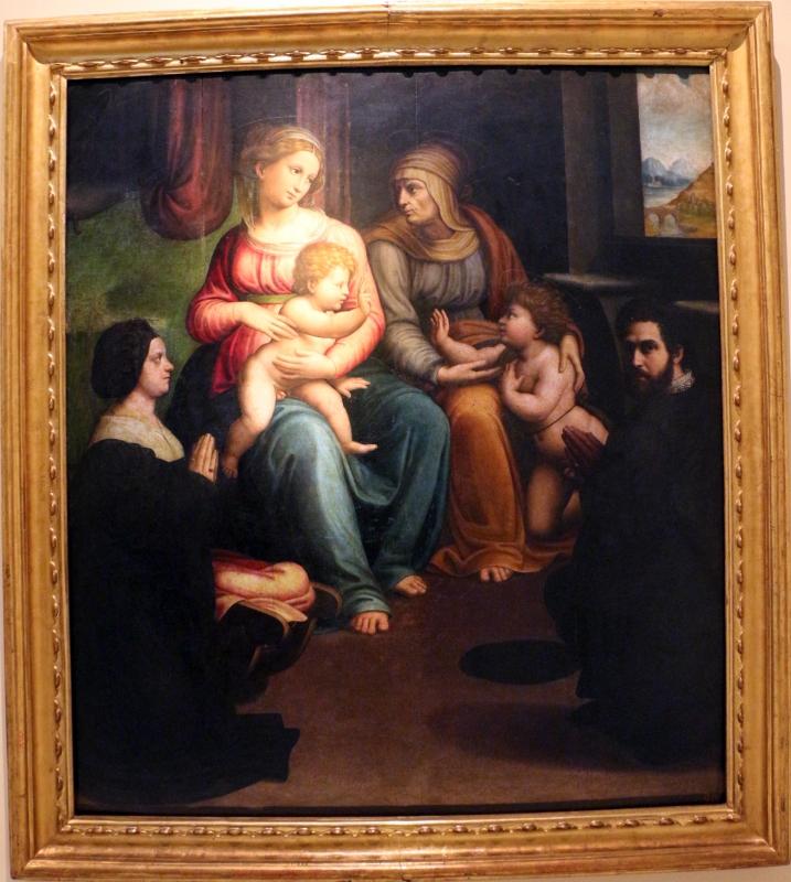 Innocenzo da imola, madonna col bambino, ss. elisabetta, giovannino e i committenti, 1523-25, da s. caterina del corpus domini - Sailko - Bologna (BO)