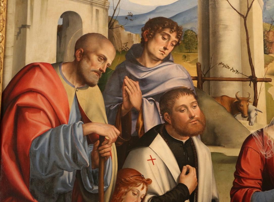 Francesco francia, adorazione del bambino con santi alla presenza di anton galeazzo e alessandro bentivoglio, 1498-99, da s.m. della misericordia 02 - Sailko - Bologna (BO)