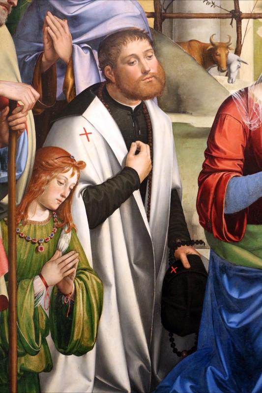 Francesco francia, adorazione del bambino con santi alla presenza di anton galeazzo e alessandro bentivoglio, 1498-99, da s.m. della misericordia 03 - Sailko - Bologna (BO)