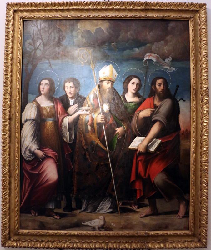 Giacomo e giulio francia, san frediano tra i ss. giacomo, lucia, orsola e un devoto, 1528-33 ca., da s.m. delle grazie - Sailko - Bologna (BO)