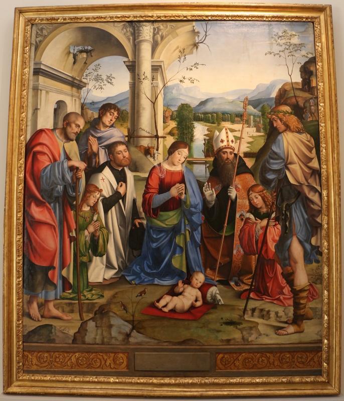 Francesco francia, adorazione del bambino con santi alla presenza di anton galeazzo e alessandro bentivoglio, 1498-99, da s.m. della misericordia 01 - Sailko - Bologna (BO)