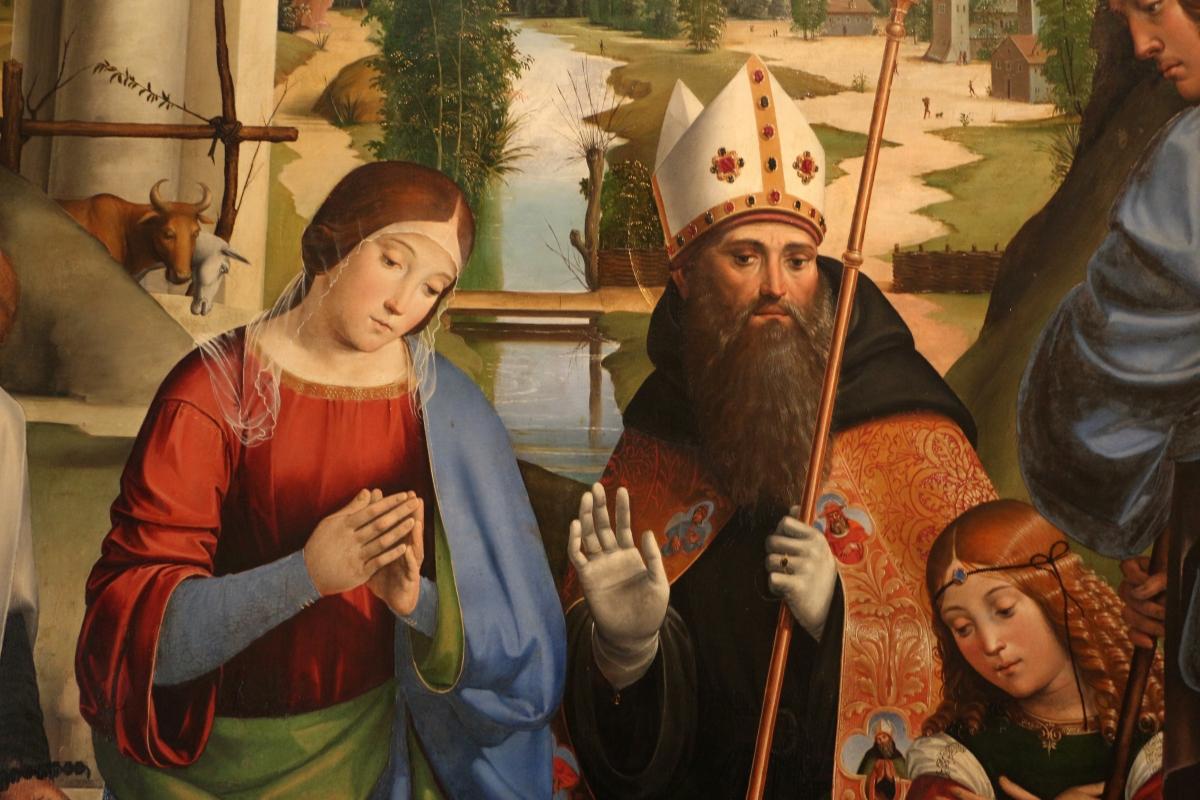 Francesco francia, adorazione del bambino con santi alla presenza di anton galeazzo e alessandro bentivoglio, 1498-99, da s.m. della misericordia 05 - Sailko - Bologna (BO)