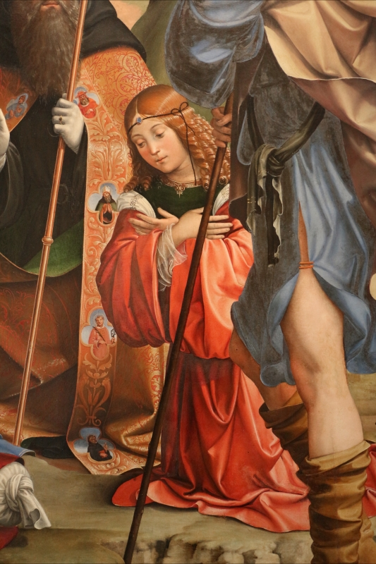 Francesco francia, adorazione del bambino con santi alla presenza di anton galeazzo e alessandro bentivoglio, 1498-99, da s.m. della misericordia 08 - Sailko - Bologna (BO)