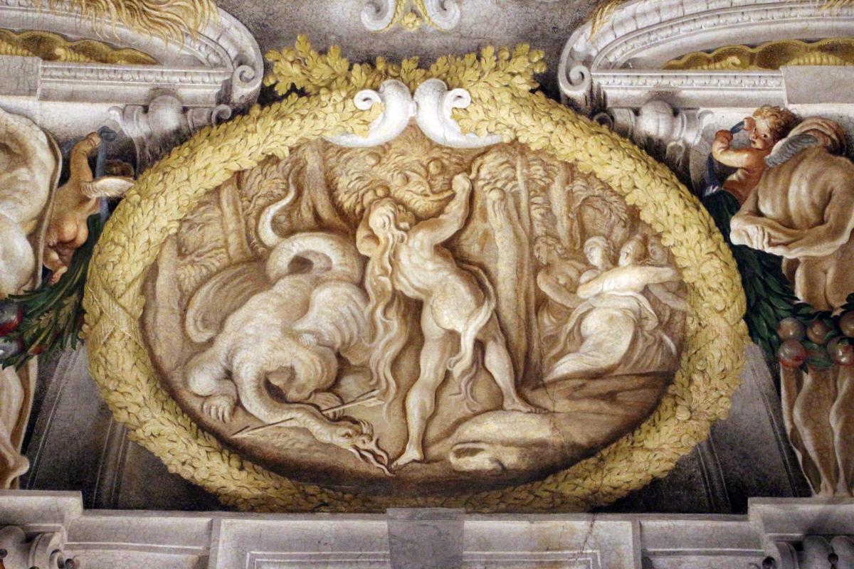Domenico Maria Canuti, salone di palazzo pepoli campogrande con apoteosi di ercole, quadrature del mengazzino, xvii sec. 34 - Sailko - Bologna (BO)