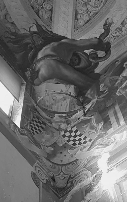 Palazzo Pepoli Campogrande - Salone d'onore particolare affresco soffitto angolo b-n - Opi1010 - Bologna (BO)