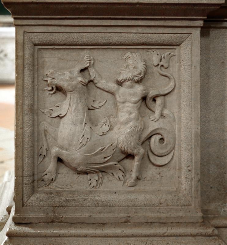 Giacomo bianchi, arco in pietra d'istria, 1536, 05 satiro su bue marino - Sailko - Forlì (FC)