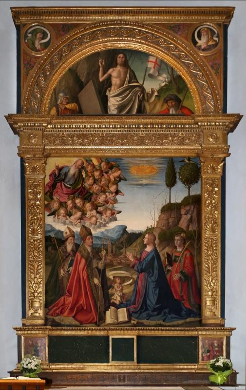 Marco palmezzano, immacolata coi ss. agostino, anselmo e stefano, e lunetta con resurrezione, 1509, 01,0 - Sailko - Forlì (FC)