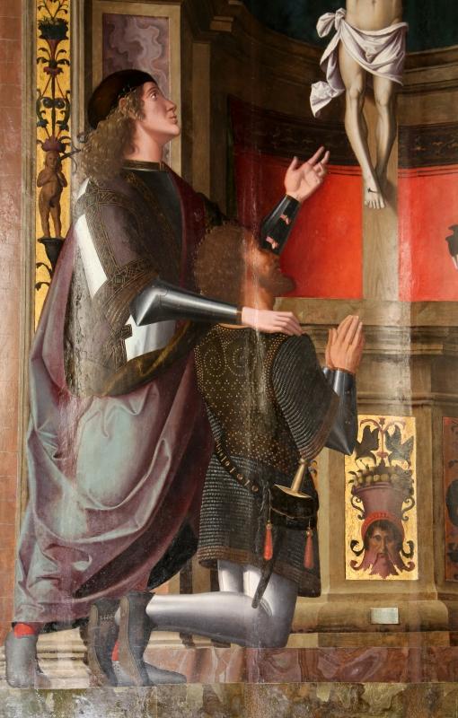 Marco palmezzano, crocifisso tra i ss. giovanni gualberto e maddalena, 1536, 04 committente - Sailko - Forlì (FC)