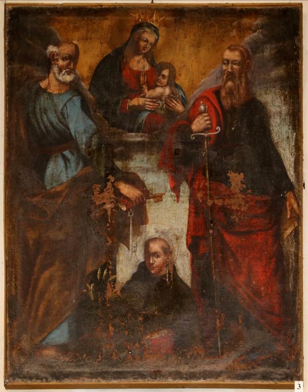 Forlì, san mercuriale, interno, cappella del ss. sacramento, madonna col bambino tra i ss. pietro, paolo e domenico, xviii secolo - Sailko - Forlì (FC)