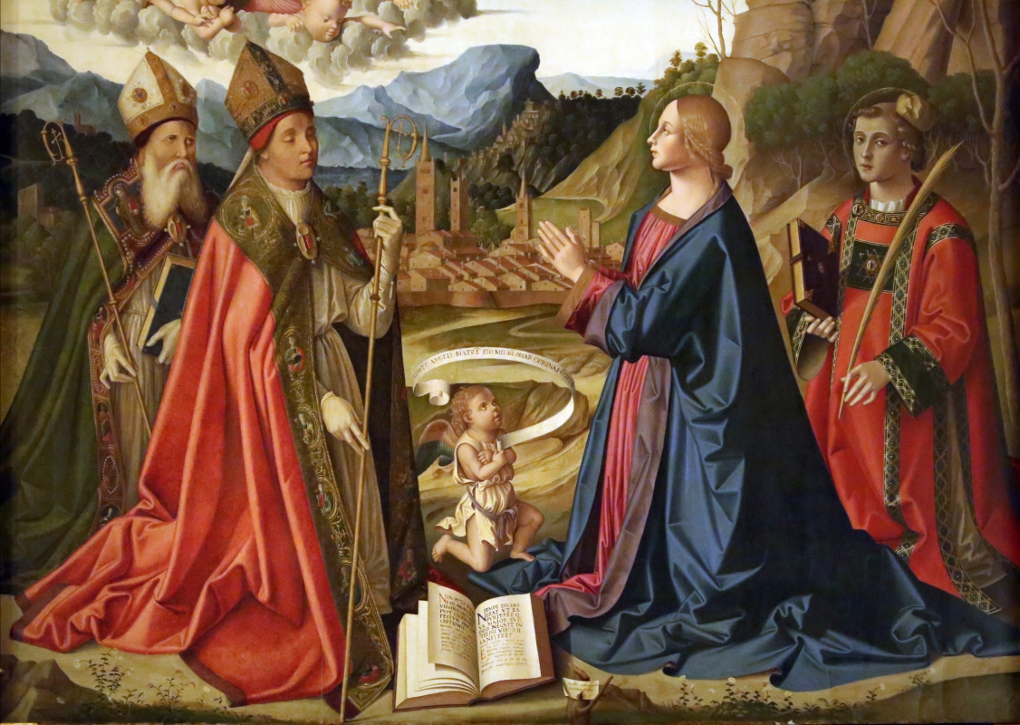 Marco palmezzano, immacolata coi ss. agostino, anselmo e stefano, e lunetta con resurrezione, 1509, 05 - Sailko - Forlì (FC)