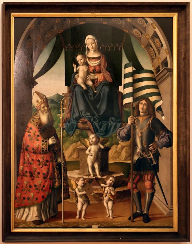 Marco palmezzano, madonna col bambino in trono tra i ss. biagio e valeriano e con angeli musicanti, 1520 ca. da s. biagio a forlì 01 - Sailko - Forlì (FC)