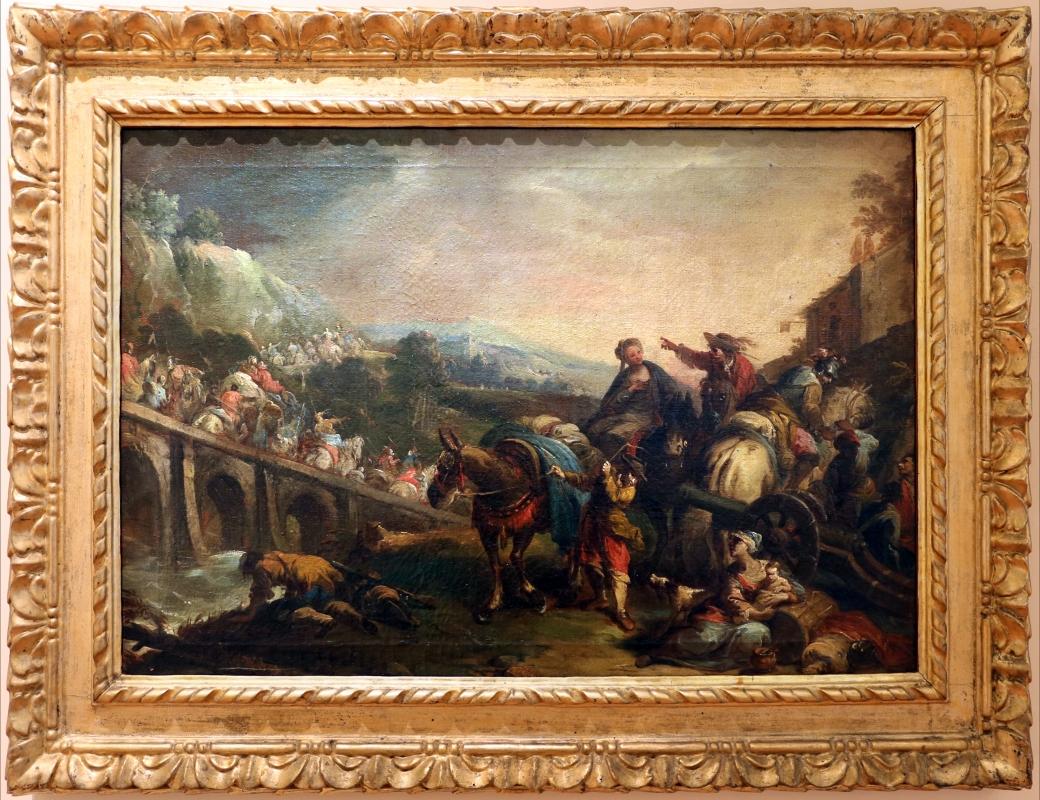 Nicola bertuzzi, passaggio di un esercito sopra un ponte, 1750-70 ca - Sailko - Forlì (FC)