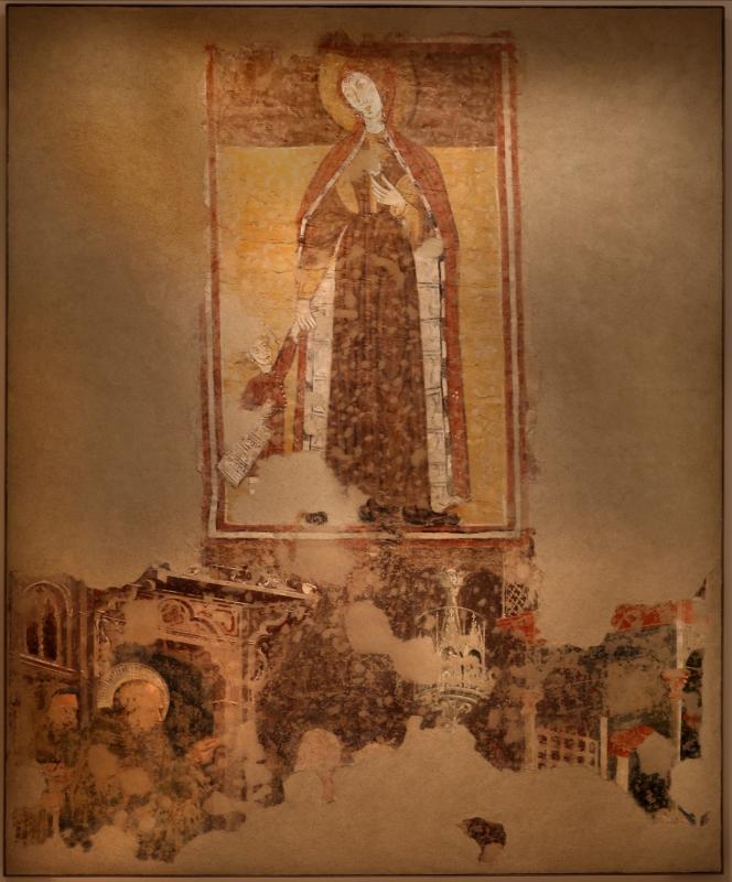 Scuola romagnola, madonna col bambino e s. antonio abate benedicente, 1275-1300 ca. poi 1390 ca., dalla facciata di s. antonio vecchio a forlì 01 - Sailko - Forlì (FC)