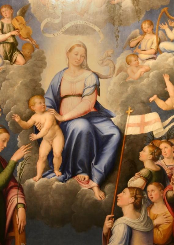 Luca longhi, madonna col bambino con s. caterina, s. orsola e le vergini, 1555, 03 - Sailko - Forlì (FC)