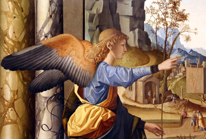 Marco palmezzano, annunciazione, 1495-97 ca., da s.m. del carmine a forlì, 04 angelo - Sailko - Forlì (FC)