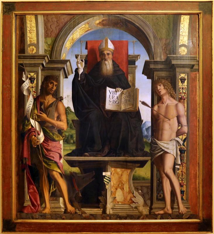 Marco palmezzano, gloria di s. antonio abate tra i ss. giovanni battista e sebastiano (pala ostoli), 1496-97, da s.m. del carmine a forlì 01 - Sailko - Forlì (FC)