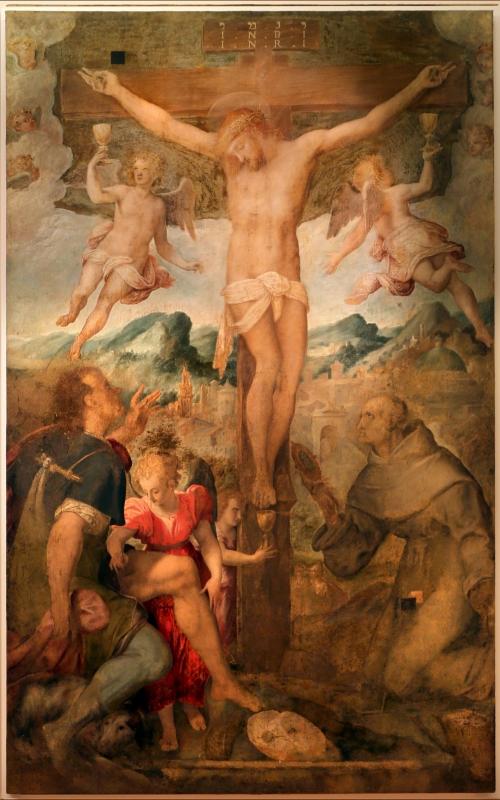Pier paolo menzocchi, crocifissione coi ss. rocco, bernardino e angli, 1570 ca., dal duomo di forlì, 00 - Sailko - Forlì (FC)