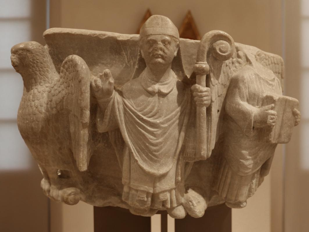 Maestro dei mesi di ferrara (attr.), piliere con san mercuriale, figura benedicente e tetramorfo, 1210 ca., da s. martino in strada 02 - Sailko - Forlì (FC)