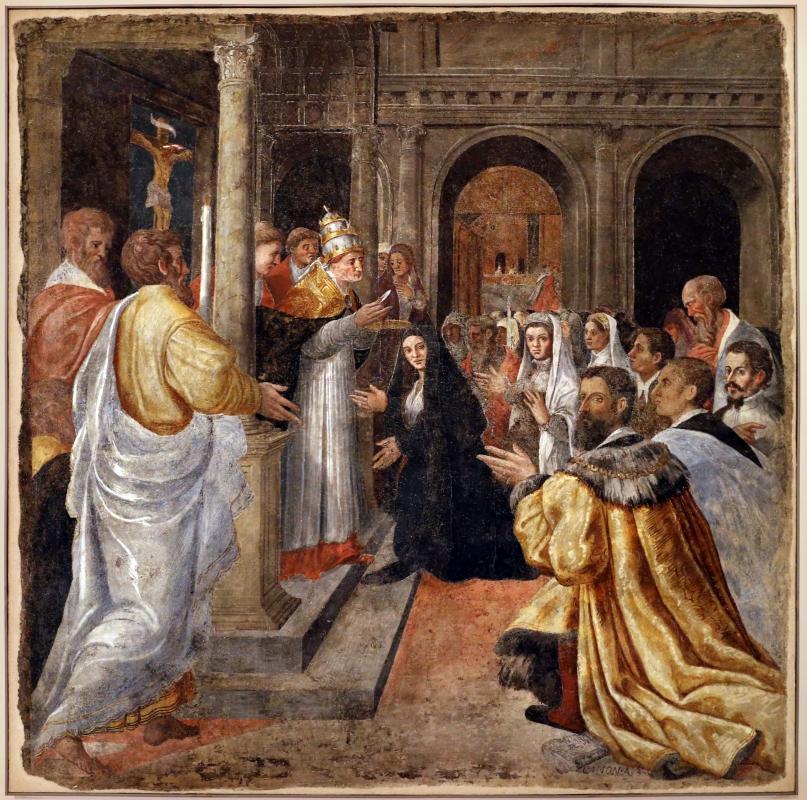 Livio agresti, storie eucaristiche e personaggi dell'antico testamento, san gregorio e la donna incredula, dal duomo di forlì - Sailko - Forlì (FC)