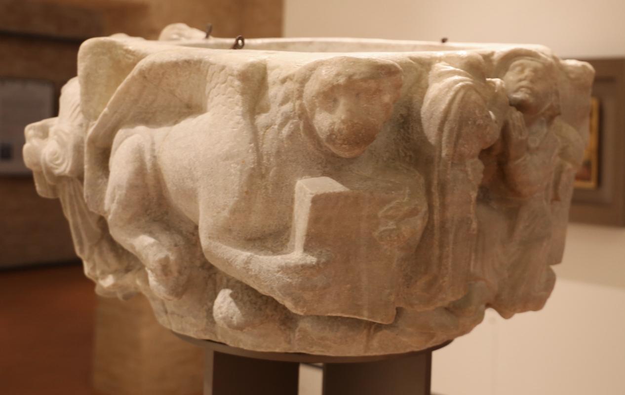 Maestro dei mesi di ferrara (attr.), piliere con san mercuriale, figura benedicente e tetramorfo, 1210 ca., da s. martino in strada 01 - Sailko - Forlì (FC)