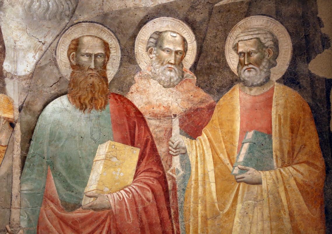 Augustinus, corteo dei magi e santi, xiv secolo, da s.m. assunta in laterano (o in schiavonia) a forlì 04 pietro, paolo e girolamo - Sailko - Forlì (FC)