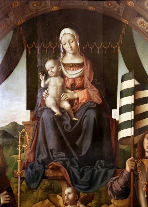 Marco palmezzano, madonna col bambino in trono tra i ss. biagio e valeriano e con angeli musicanti, 1520 ca. da s. biagio a forlì 02 - Sailko - Forlì (FC)