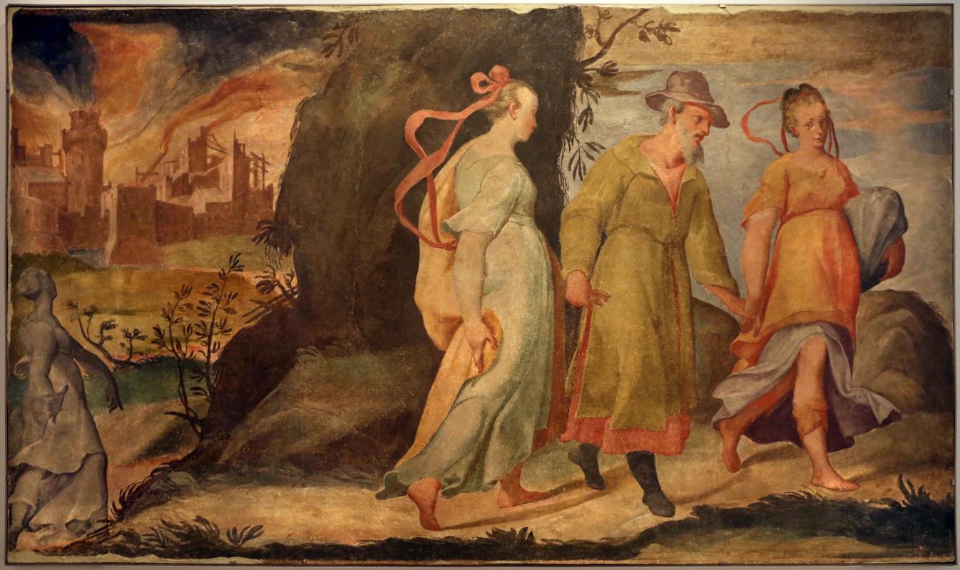 Pier paolo menzocchi, storie dell'antico testamento, dalla sal del coniglio (o degli angeli) nel palazzo comunale di forlì, 1574, distruzione di sodoma 01 - Sailko - Forlì (FC)