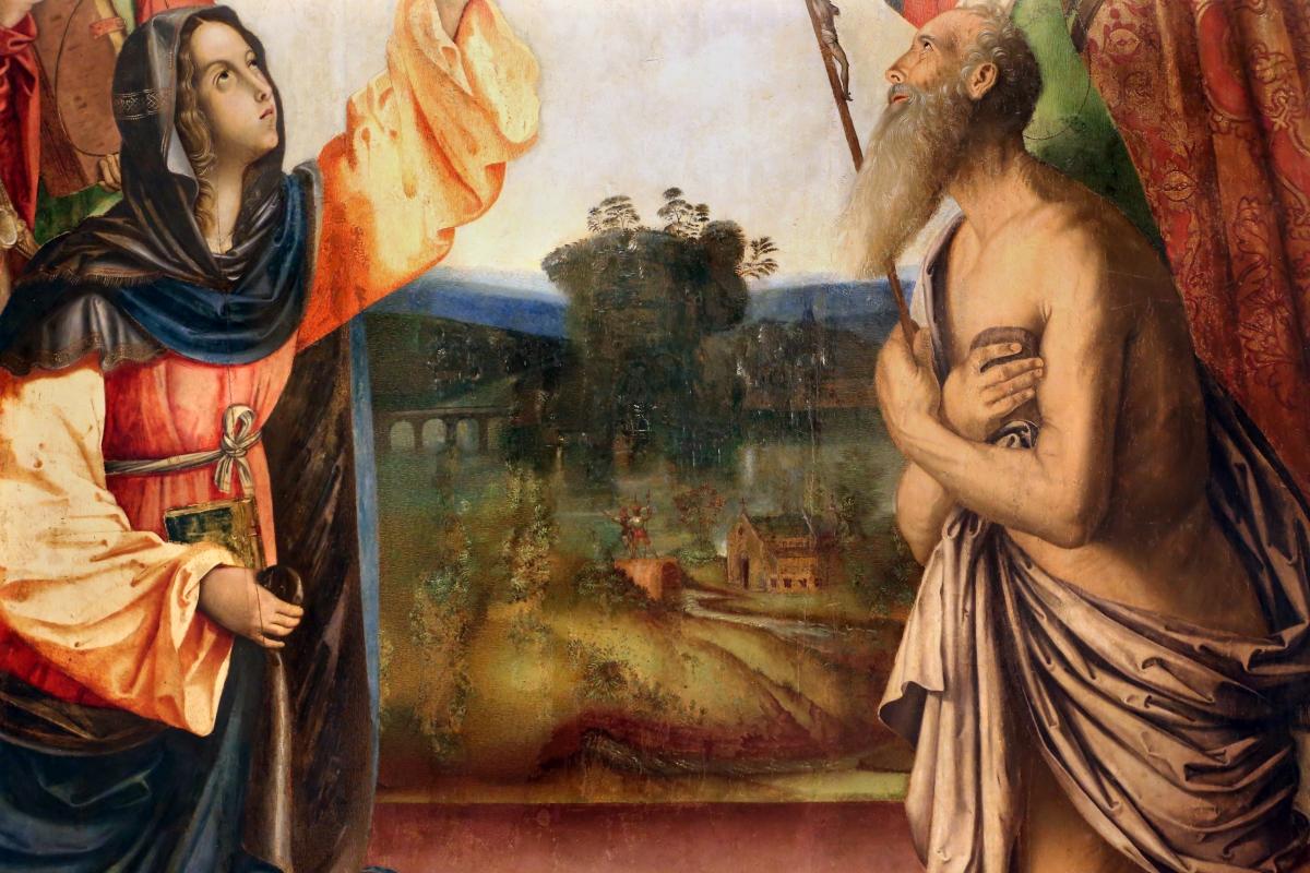 Francesco zaganelli da cotignola, concezione della vergine, 1513, da s. biagio in s. girolamo a forlì, 05 paesaggio cn fiume o lago - Sailko - Forlì (FC)