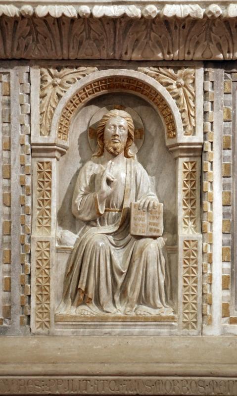 Sarcofago del beato giacomo salomoni, 1340 ca., da s. giacomo apostolo in san domenico, 09 cristo benedicente - Sailko - Forlì (FC)