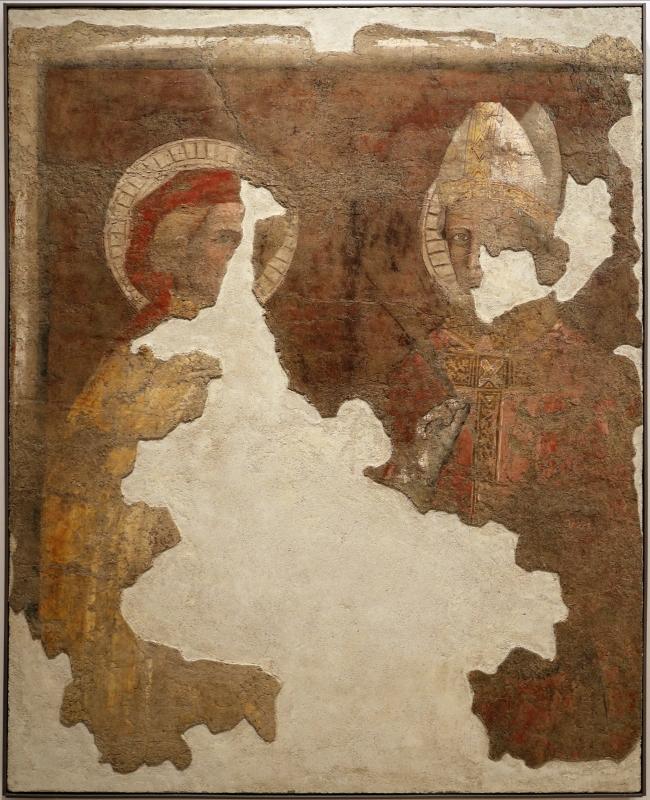 Scuola romagnola, san donnino e un santo vescovo, 1390 ca., da s. mercuriale - Sailko - Forlì (FC)