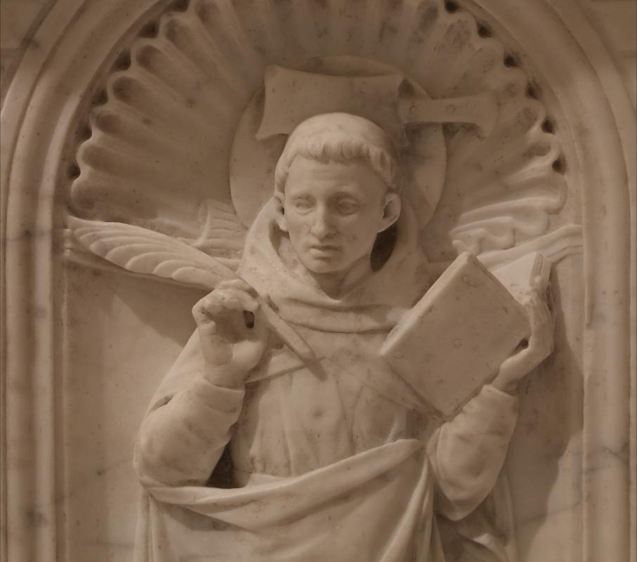 Antonio rossellino, sarcofago del beato marcolino amanni, 1458, da s. giacomo in s. domenico a forlì, santi domenicani 08 pietro martire - Sailko - Forlì (FC)