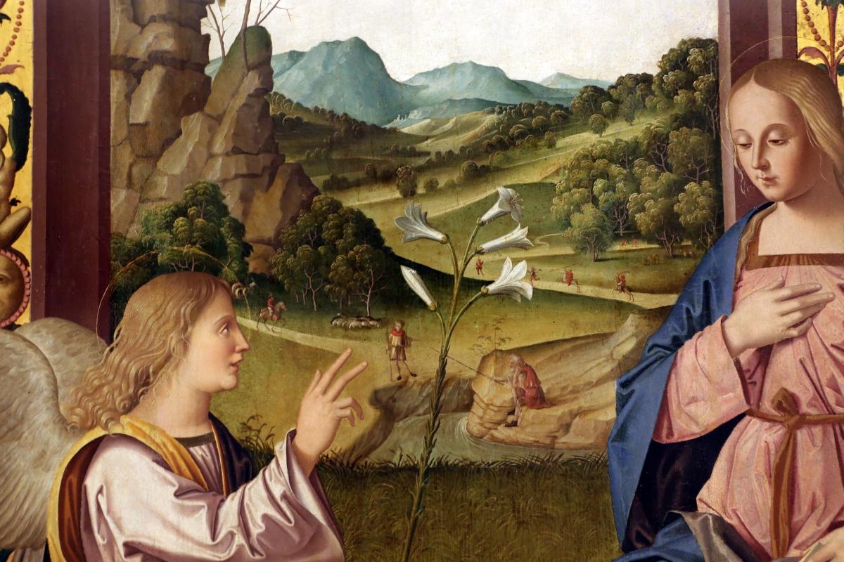 Marco palmezzano, annunciazione, da s.m. dei servi a forlì, 1511-12, 04 paesaggio - Sailko - Forlì (FC)
