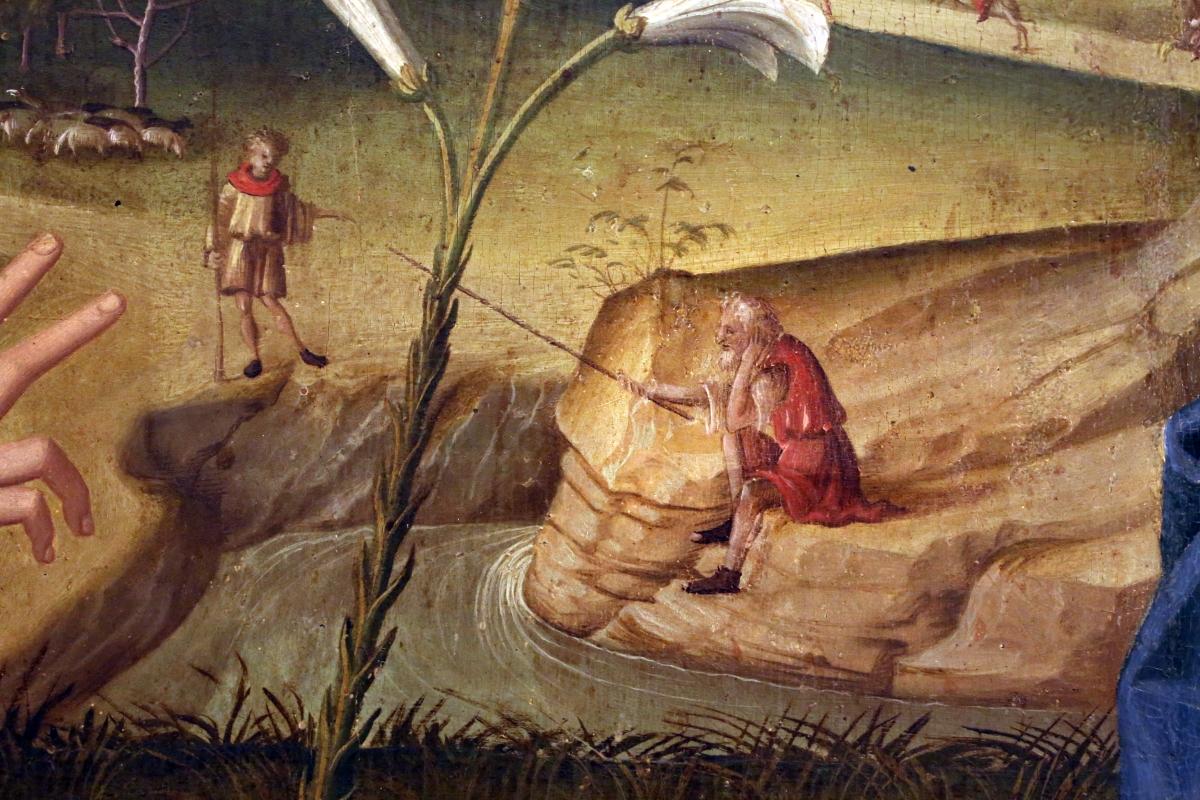 Marco palmezzano, annunciazione, da s.m. dei servi a forlì, 1511-12, 05 pescatore e fanciullo - Sailko - Forlì (FC)