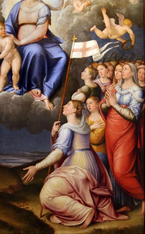 Luca longhi, madonna col bambino con s. caterina, s. orsola e le vergini, 1555, 04 - Sailko - Forlì (FC)