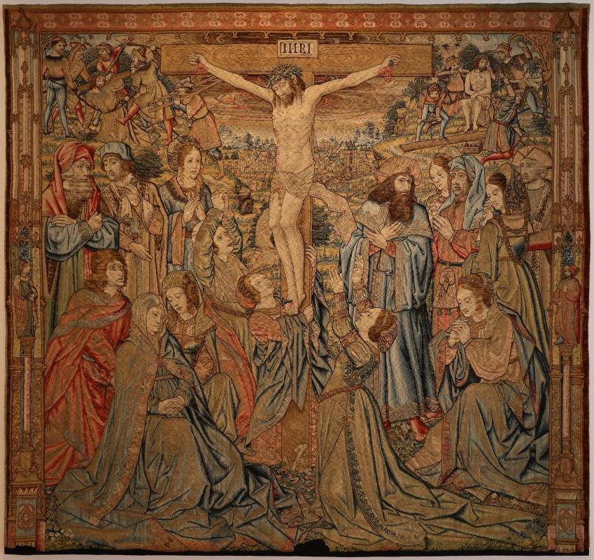Manifattura fiamminga, arazzo con crocifissone ed episodi della passione, da s, agostino a forlì, 1511-25, 01 - Sailko - Forlì (FC)