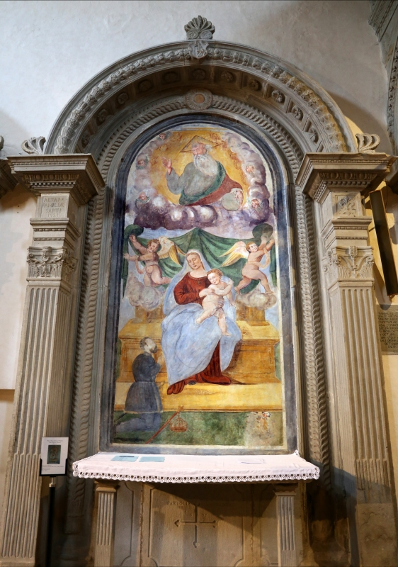 Scuola locale, madonna in trono, l'eterno e un donatore, 1550 ca. (ridipinta) 01 - Sailko - Galeata (FC)