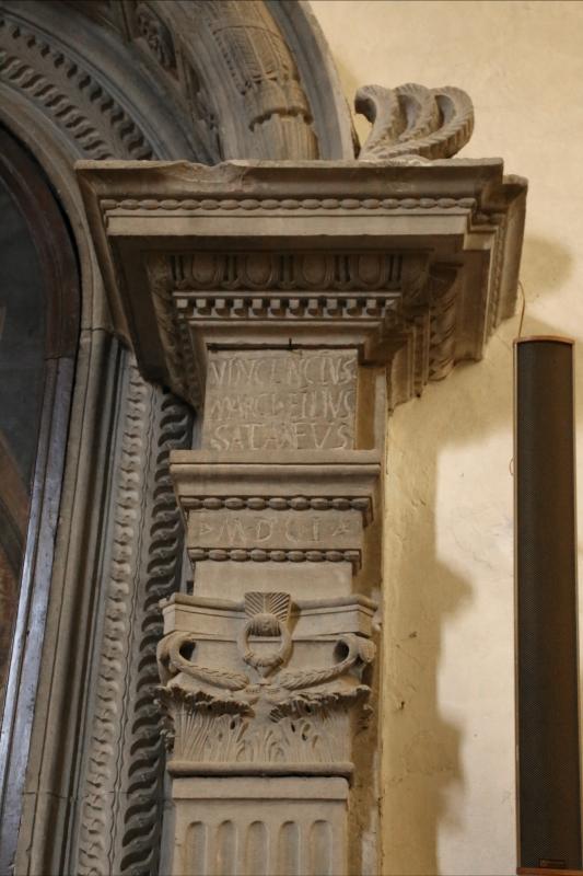Pianetto (galeata), santa maria dei miracoli, interno, iscrizione presso altare della visitazione 2 - Sailko - Galeata (FC)