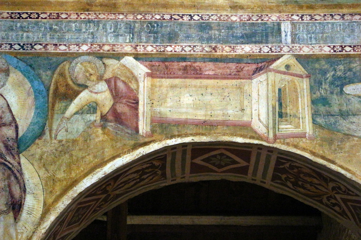 Scuola bolognese, ciclo dell'abbazia di pomposa, 1350 ca., apocalisse, 15 gesù chiama gli angeli 2 tempio - Sailko - Codigoro (FE)