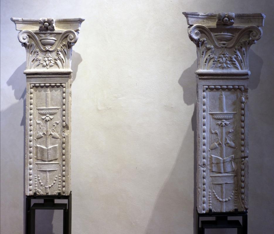Capitelli su lesene frammentarie, dalla certosa di ferrara, 1490-1510 ca - Sailko - Ferrara (FE)