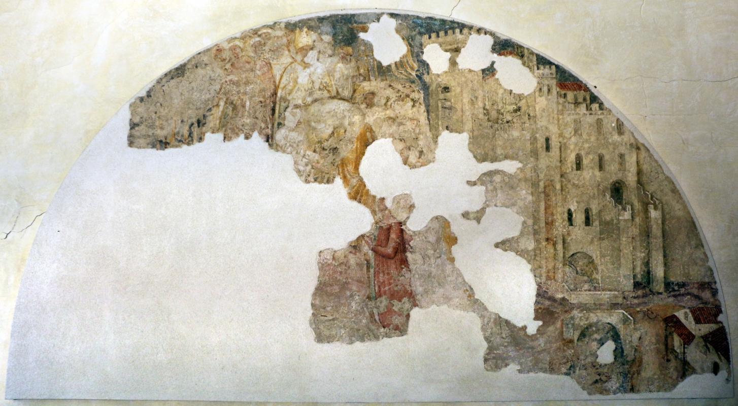 Artista bolognese o veneto, castello con mura merlate, 1350-1400 ca., da sacello del campanile di s. stefano, ferrara 01 - Sailko - Ferrara (FE)