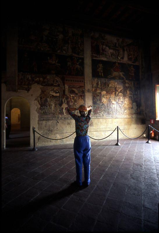 Palazzo Schifanoia. Salone dei Mesi, parete est con visitatrice - zappaterra - Ferrara (FE)