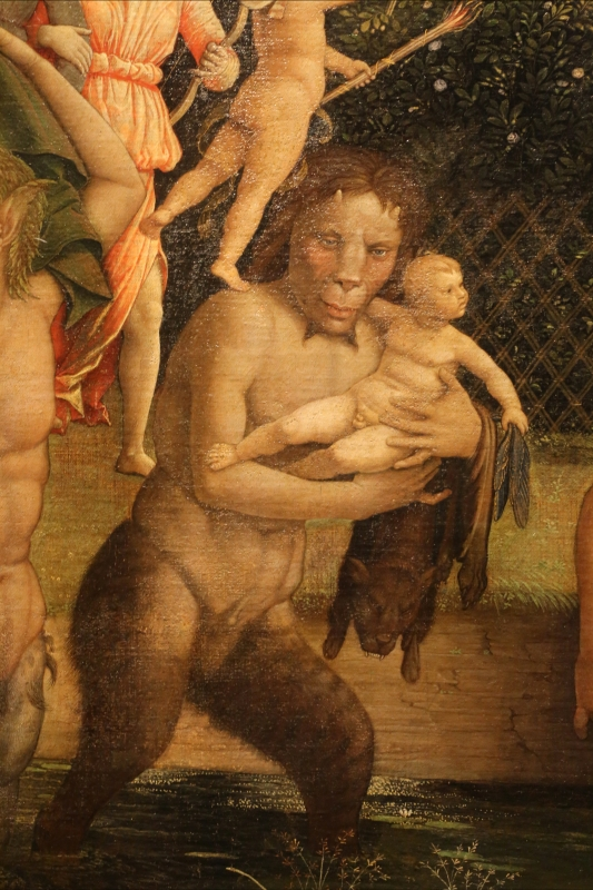 Andrea mantegna, minerva scaccia i vizi dal giardino delle virtù, 1497-1502 ca. (louvre) 33 satiro - Sailko - Ferrara (FE)