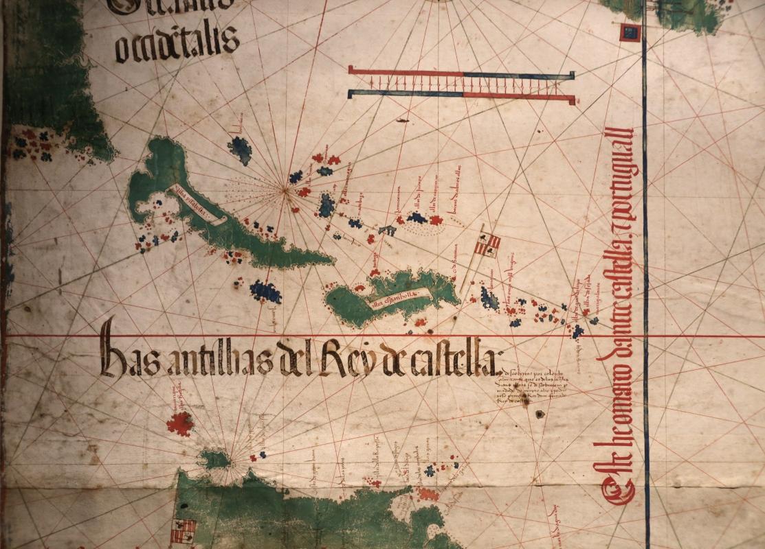 Anonimo portoghese, carta navale per le isole nuovamente trovate in la parte dell'india (de cantino), 1501-02 (bibl. estense) 02 - Sailko - Ferrara (FE)