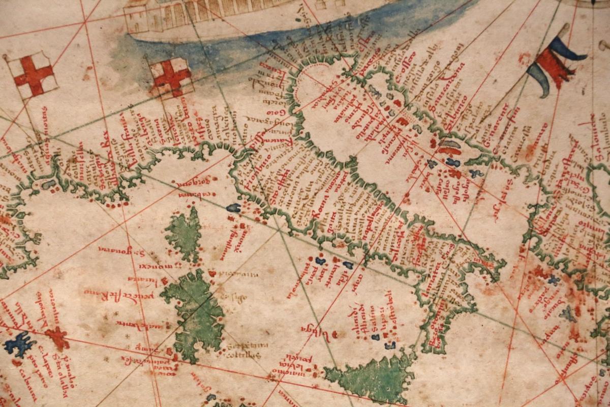 Anonimo portoghese, carta navale per le isole nuovamente trovate in la parte dell'india (de cantino), 1501-02 (bibl. estense) 07 italia - Sailko - Ferrara (FE)