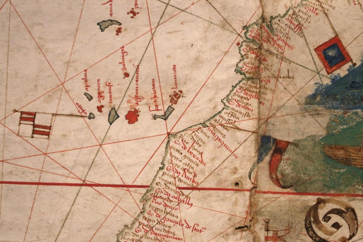 Anonimo portoghese, carta navale per le isole nuovamente trovate in la parte dell'india (de cantino), 1501-02 (bibl. estense) 09 canarie - Sailko - Ferrara (FE)