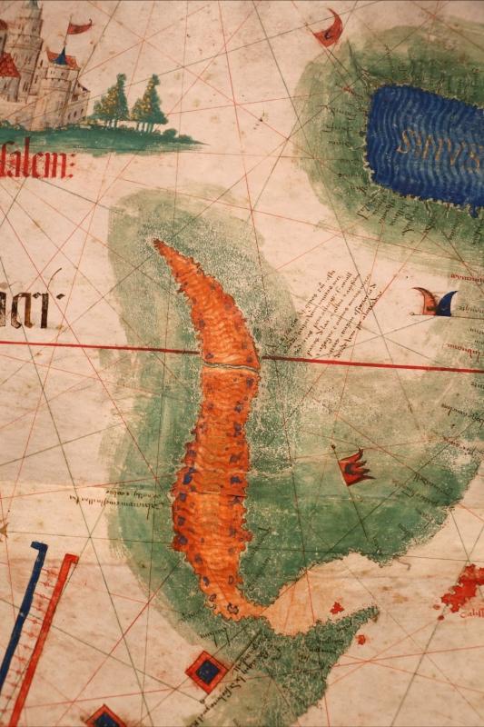 Anonimo portoghese, carta navale per le isole nuovamente trovate in la parte dell'india (de cantino), 1501-02 (bibl. estense) 13 mar rosso - Sailko - Ferrara (FE)